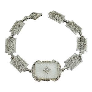 "Art Deco Filigree Sterling Silver Camphor Glass Bracelet 6 7/8"""