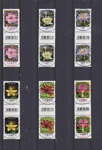 Deutschland Dauerserie Blumen Rollenmarken mit Nummer und EAN sauber gestempelt