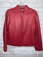 Petite Sophisticate Red Leather Jacket Size Small