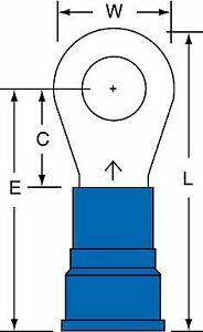 "3M 5/16"" Stud Size 6 AWG Nylon Insulated Brazed Seam Ring Terminal 50PK"