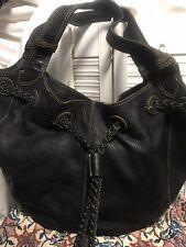 Fossil Leather Hobo Braided Drawstring Bucket Shoulder Handbag