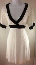 Robin Jordan Contrast Black Trim White V neck Empire Waist Summer Dress NWT $79