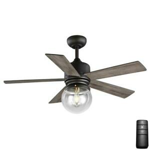 Home Decorators Amelia 42 in. LED Indoor Bronze Downrod Ceiling Fan w/ Remote