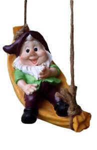 21cm Gnome Swing on Hammock Statue Sculpture Ornament Garden Home Decor