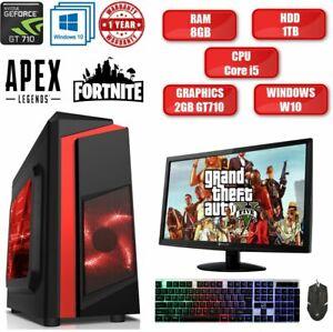 Fast Gaming PC Computer Bundle Intel Quad Core i5 8GB 1TB Windows 10 2GB GT710 ✅