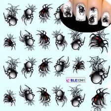 Spider Nail Art Sticker Halloween Style Decals Water Transfer Manicure Wraps Kit