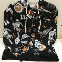 Disney Star Wars Jacket Hooded Long Sleeves Zip Front Size Large