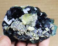 Natural translucent Gem Level Green/Purple Cube fluorite Mineral Specimen/China