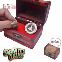 Bronze Gravity Falls Bill Cipher Boss Necklace Pendant & Ring With Wood box