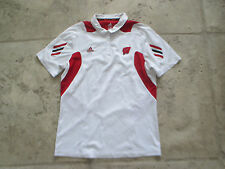 Vintage Adidas Wisconsin Badgers Women'S Large Sewn White Collar Polo Shirt Used