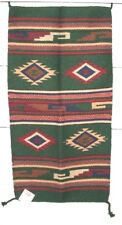 "Throw Rug Tapestry Southwest Western Hand Woven Wool 20x40"" Replica #128G"