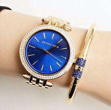 Original Michael Kors reloj fantastico mk3406 darci taza: oro/azul cristal nuevo