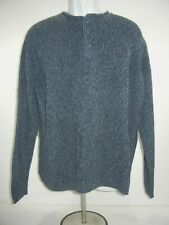 LL BEAN Thick & Heavy 100% Cotton Fisherman Sweater Mens XL Crewneck Button