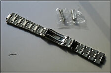22mm Curved End SILVER OYSTER Solid Stainless Steel Watch bracelet, Screws Links