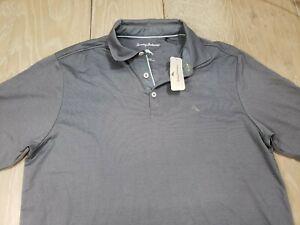 Tommy Bahama Double Eagle SS Spectator Polo Shirt Medium Gray Golf Mens NWT $88