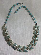 """Vintage Coro Turquoise Enameled GT Metal Modernist Filigree V Link 17"""" Necklace"""