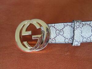 Gucci Monogram Belt & Gold Buckle Belt 121282-0959-80-32 SZ 50/125