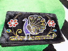 1930s art deco velvet beaded evening bag/ clutch Peacock glass beaded bag