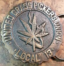 2034ab07024c5 United Grass Pickers Union LOCAL 13 BELT BUCKLE Rolling Stones logo on back