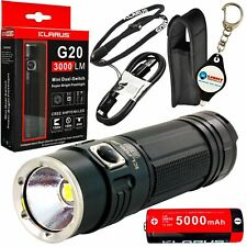 Klarus G20 3000 Lumens Rechargeable LED Flashlight w/ Battery and Keychain Light