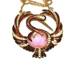 Wonderful D'ORLAN Copper ENAMEL Flamingo Pink JELLY BELLY Pendant Necklace