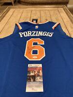 Kristaps Porzingis Autographed/Signed Jersey JSA COA New York Knicks NY
