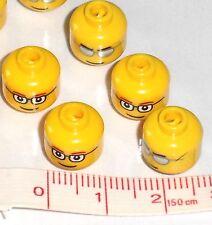 10 X Lego Amarillo Jefes-Gafas & Gafas De Sol-Excelente Para Retro la fabricación de joyas