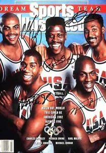 Michael Jordan Magic Johnson Dream Team Signed Autograph Basketball A4 poster