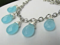 Semi Precious Blue Chalcedony Faceted Teardrop Necklace Silver USA HANDMADE