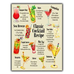 METAL SIGN PLAQUE CLASSIC COCKTAIL RECIPES A5 print Bar Cafe Kitchen Restaurant