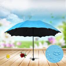 Women Princess Magic Flowers Dome Parasol Sun Rain Folding Umbrella Gift Blue