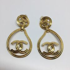 Rare Vintage Chanel Gold Logo Teardrop Hoop Clip Earrings