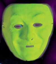 Neon Green Plastic Face Mask Drama Theatrical Fancy Dress