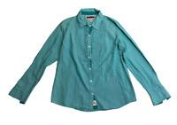 Tommy Hilfiger Women's Shirt Green Large Long Sleeve Button Up