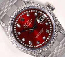Rolex Datejust S/Steel 36mm-Red Diamond String Dial-Diamond Lugs-Diamond Bezel