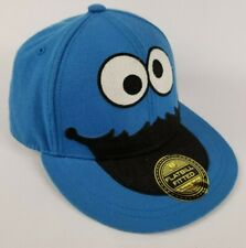 Sesame Street Cookie Monster Baseball Cap Hat Fitted Flat Bill Youth Size L/XL