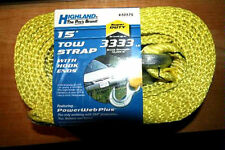 "Highland® Tow Strap - 2"" x 15' W/Hooks 10,000 lbs. * NEW * Towing Strap"
