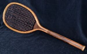 Rare Vintage Wood 1895 Flattened Wedge Tennis Racket Checkered Cross-Cut Grip