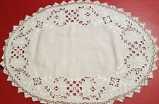 "ELABORATE Antique white RETICELLA embroidery 12 PLACEMATS 13"" x 16 1/2"" vtg"