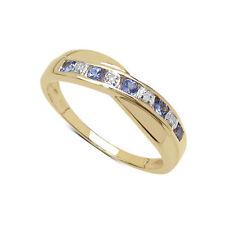 Anelli di lusso con gemme blu oro giallo anniversario