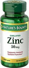 2 Pack - Nature's Bounty Chelated Zinc 50 mg Caplets 100 Each