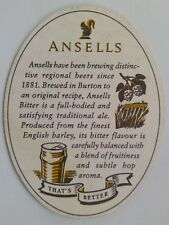 Ansells Best Bitter That's Better Brewed In Burton Est Since 1857 Coaster (B319)