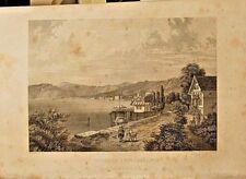 Rorschach Switzerland, City View, Steel Engraving, Vintage 1860 Antique Print
