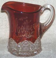 Antique EAPG Ruby Stained Glass Souvenir Mother Creamer Cream Pitcher