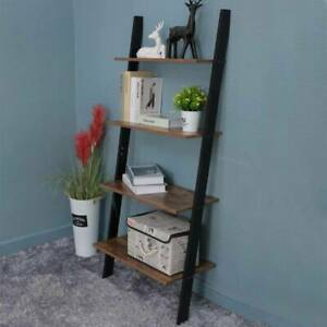 Rustic Brown Ladder Shelving Unit 4 Tier Wall Leaning Bookcase Storage Display