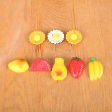 Vintage Lot Of 8 Refrigerator Fruit Flower Magnets Memo Note Holders Retro