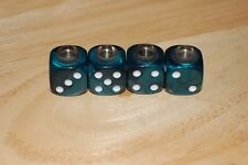 DUDDS DICE EMERALD GREEN PEARL w/WHITE DOTS VALVE STEM CAPS (4 PACK) #65
