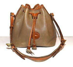 Vintage Dooney & Bouke All Weather Leather Olive & Tan Bucket Style Shoulder Bag