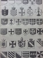 ANTIQUE PRINT DATED C1870'S HERALDRY ENGRAVING COAT OF ARMS VARIOUS HISTORY ART