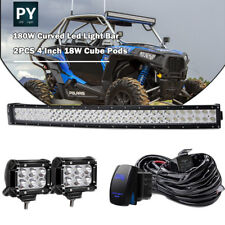"30"" 32''LED Light Bar Kit +4 inch Pods &wiring for POLARIS RZR 900 1000 XP 1000"